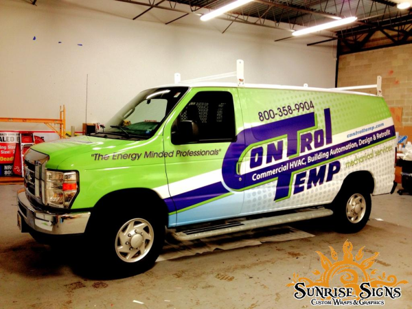 HVAC contractor van wraps advertising