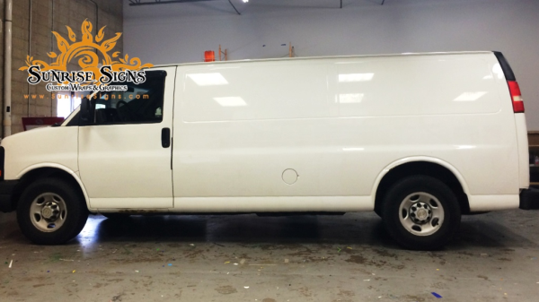 Image of Chevy Express van before vehicle wraps