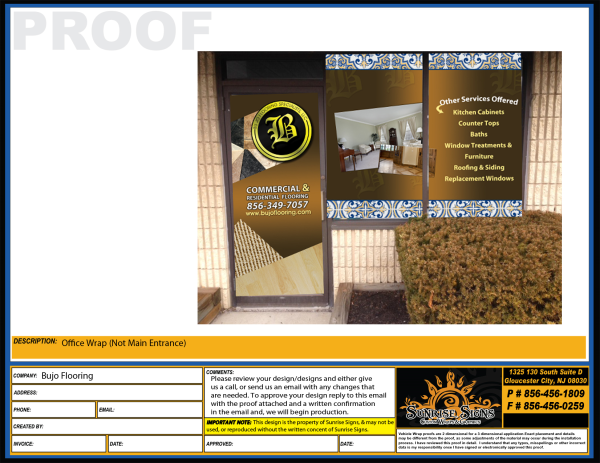 Flooring contractor window graphics advertising