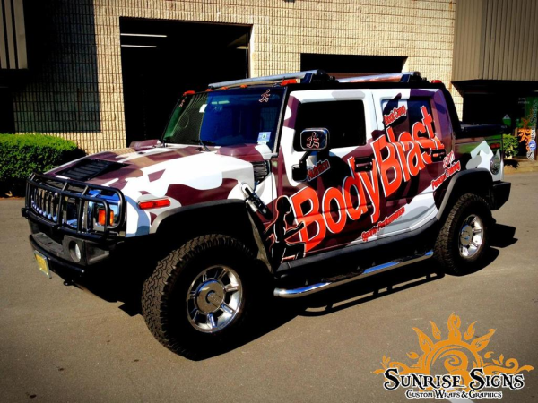 bodyblast fitness burns fat with hummer h2 suv vehicle wraps in pa nj. Black Bedroom Furniture Sets. Home Design Ideas