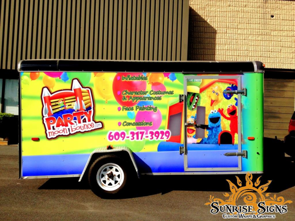 Party Moon Bounce event company trailer wraps