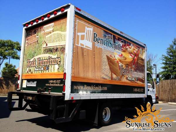 Benchsmith Outdoor Furniture Delivers With Box Truck Wraps In Bucks County