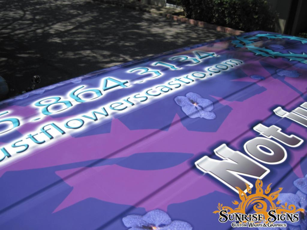 Roof of Ford E150 florist van wraps