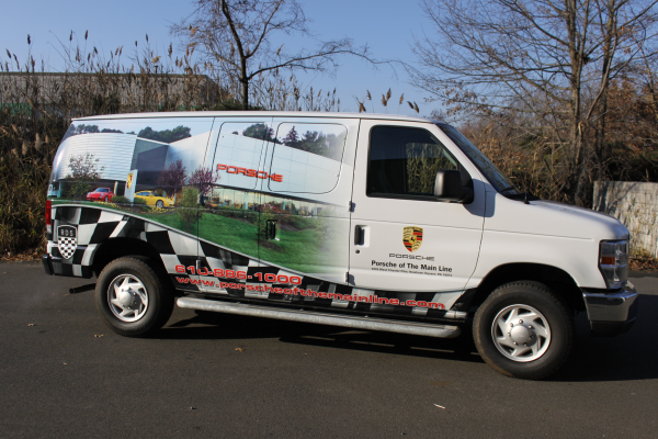 Ford E250 van wraps for auto dealerships