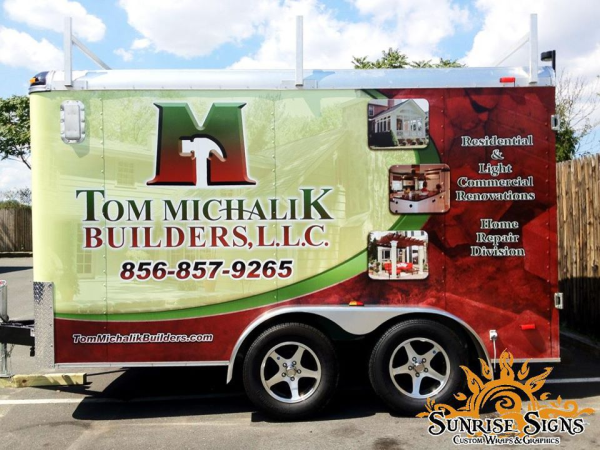 Home contractor enclosed trailer wraps