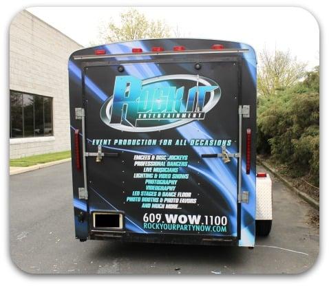 Vehicle Wrap Spotlight Matte Trailer Wrap For Rock It Dj