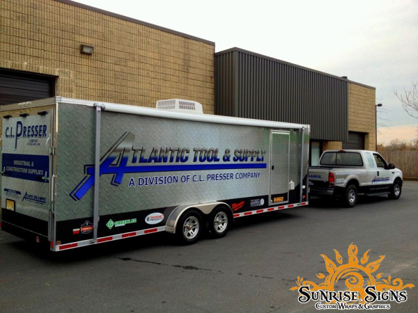 Industrial tool trailer and pickup truck wraps and graphics New Jersey