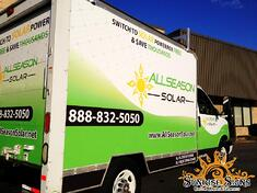 AllSeason Solar fleet of box truck wraps