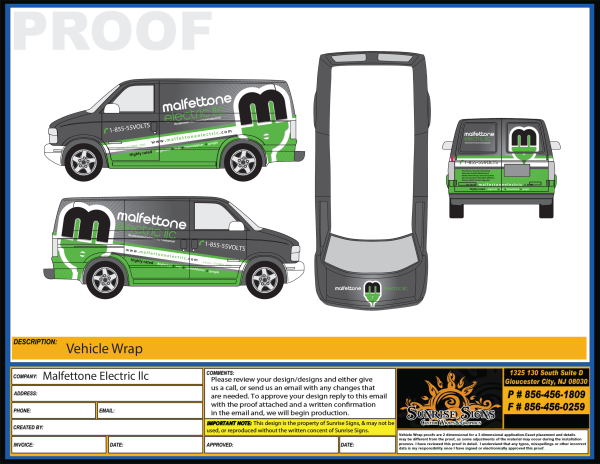 Electrical contractor vehicle wrap design