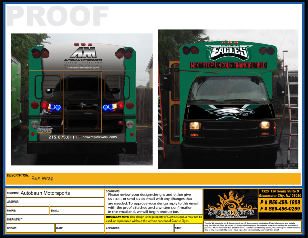 Eagles tailgating shuttle bus wraps