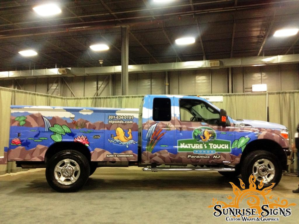 Contractor work truck advertising with vehicle wraps