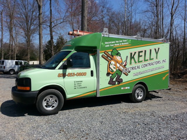 Electrical Spartan van wraps with utility body