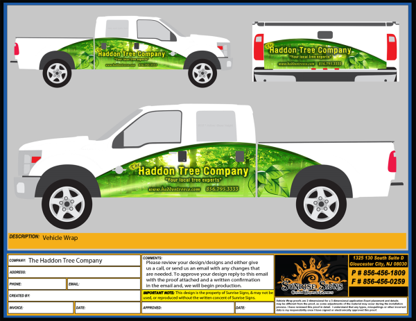 Images of proofs for partial truck wraps
