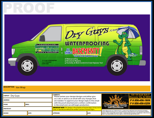 Basement waterproofing vehicle wraps South Jersey