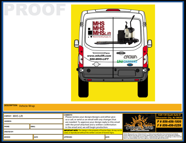 forklift company adds ford transit van wraps in south jersey. Black Bedroom Furniture Sets. Home Design Ideas