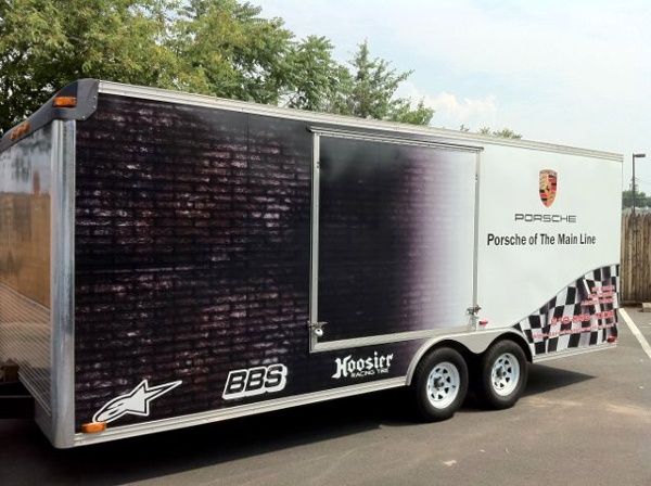 Partial Racing Trailer Wrap - Partial Racing Trailer Wrap for Porsche of the Mainline