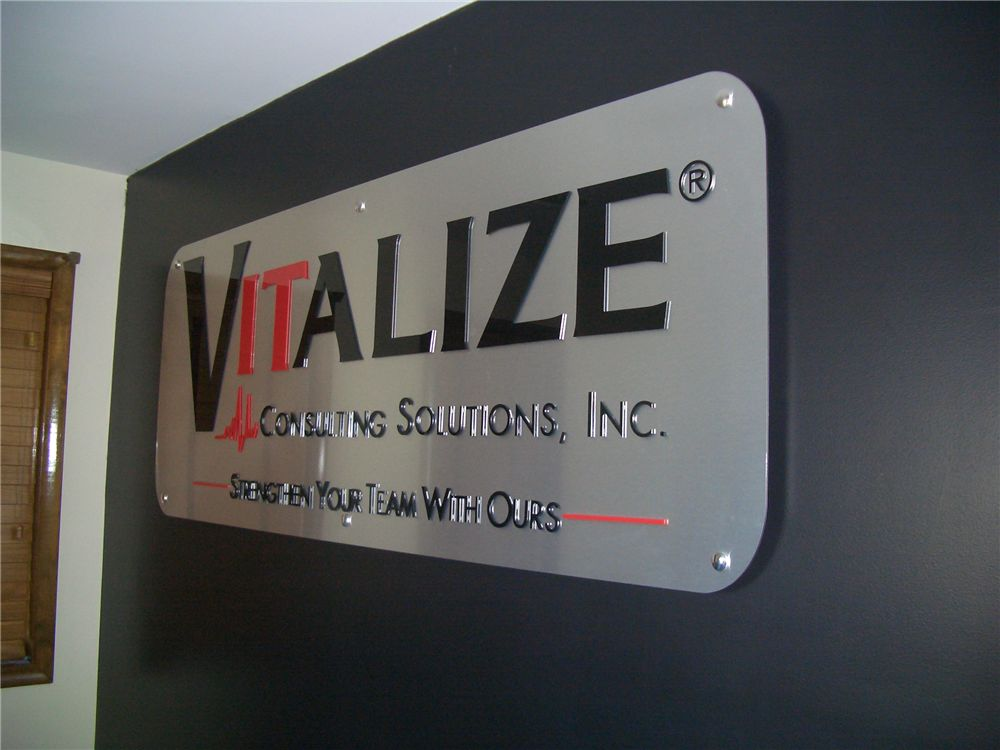 Brushed Aluminum Lobby Sign with Acrylic Letters - Brushed Aluminum Lobby Sign with Acrylic Letters for consulting service