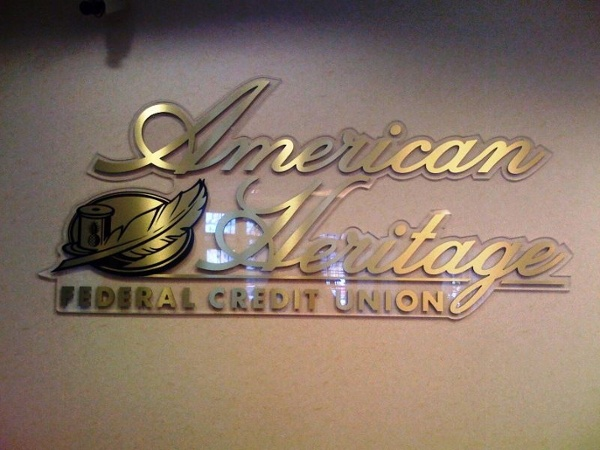 Brushed Metal Brass Laminated Letters - Brushed Metal Brass Laminated Letters for credit union
