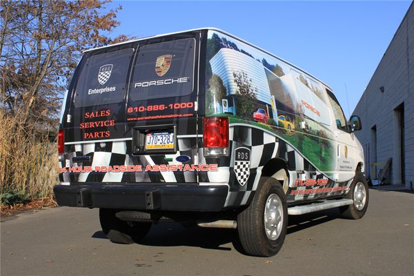 E350 Van Wrap - Partial E350 Van Wrap for Porsche dealership