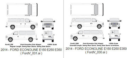 Vehicle Wrap Templates for the Ford Econoline E-Series Van