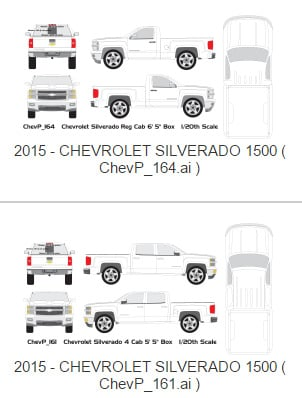 Chevy Silverado Vehicle Wrap Templates