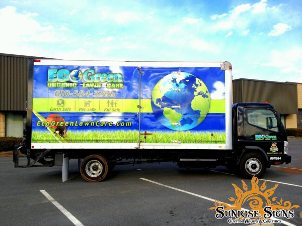 Lawn care contractor box truck wraps