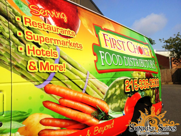 Vehicle wraps for food service distributors