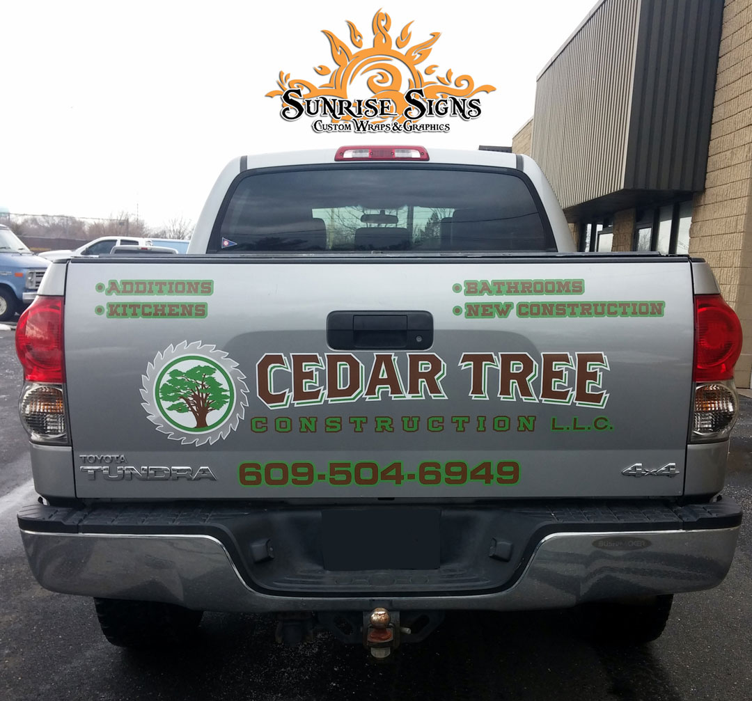 Contractor pickup truck lettering South Jersey