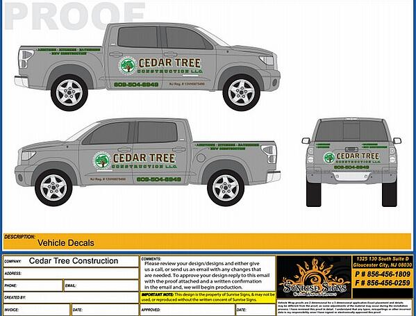Contractor Truck Graphic Design Proofs New Jersey