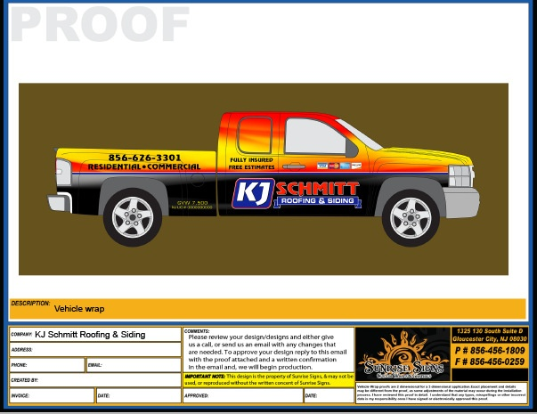 Contractor truck wrap design proofs South Jersey
