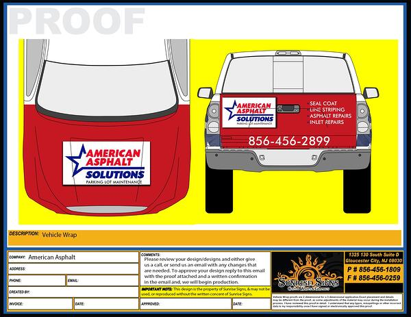Vehicle Wrap Design Proofs for Pickup Trucks