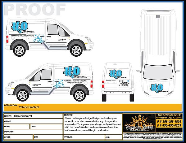 Vehicle Graphic Design Proofs for Ford Transit Connect Vans NJ