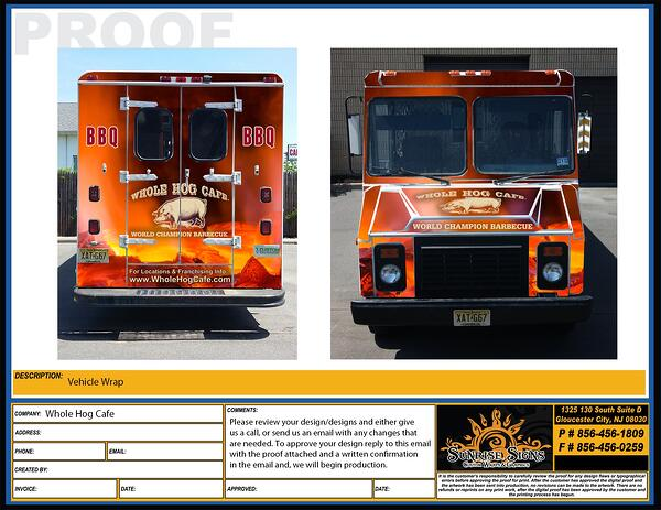 Food truck wrap design proofs